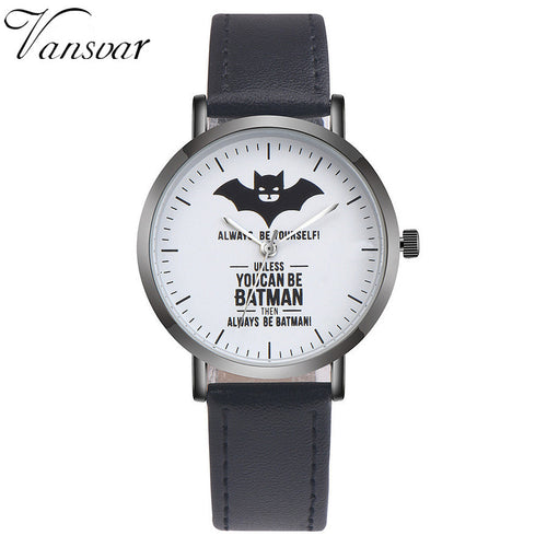 DC Comics® Batman™ Leather Strap Watch (Black)