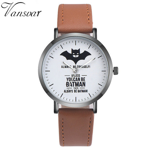 DC Comics® Batman™ Leather Strap Watch (Brown)
