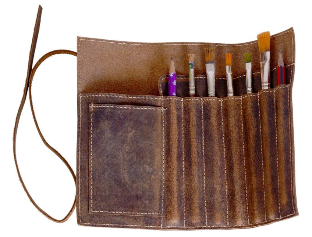 HandMadeCart leather Pen case Pencil holder, leather stationary case pouch for students and artists.