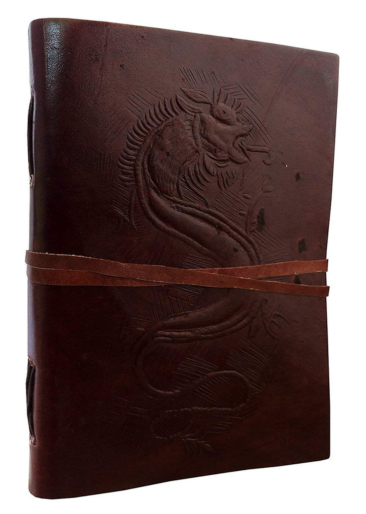 HandMadeCart Hand Painted Dragon Embossed Leather Journal Diary Notebook Men Women