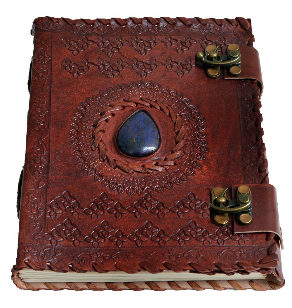 "HandMadeCart Large 8"" Embossed Leather Journal Celtic two latches blue stone blank personal Diary"
