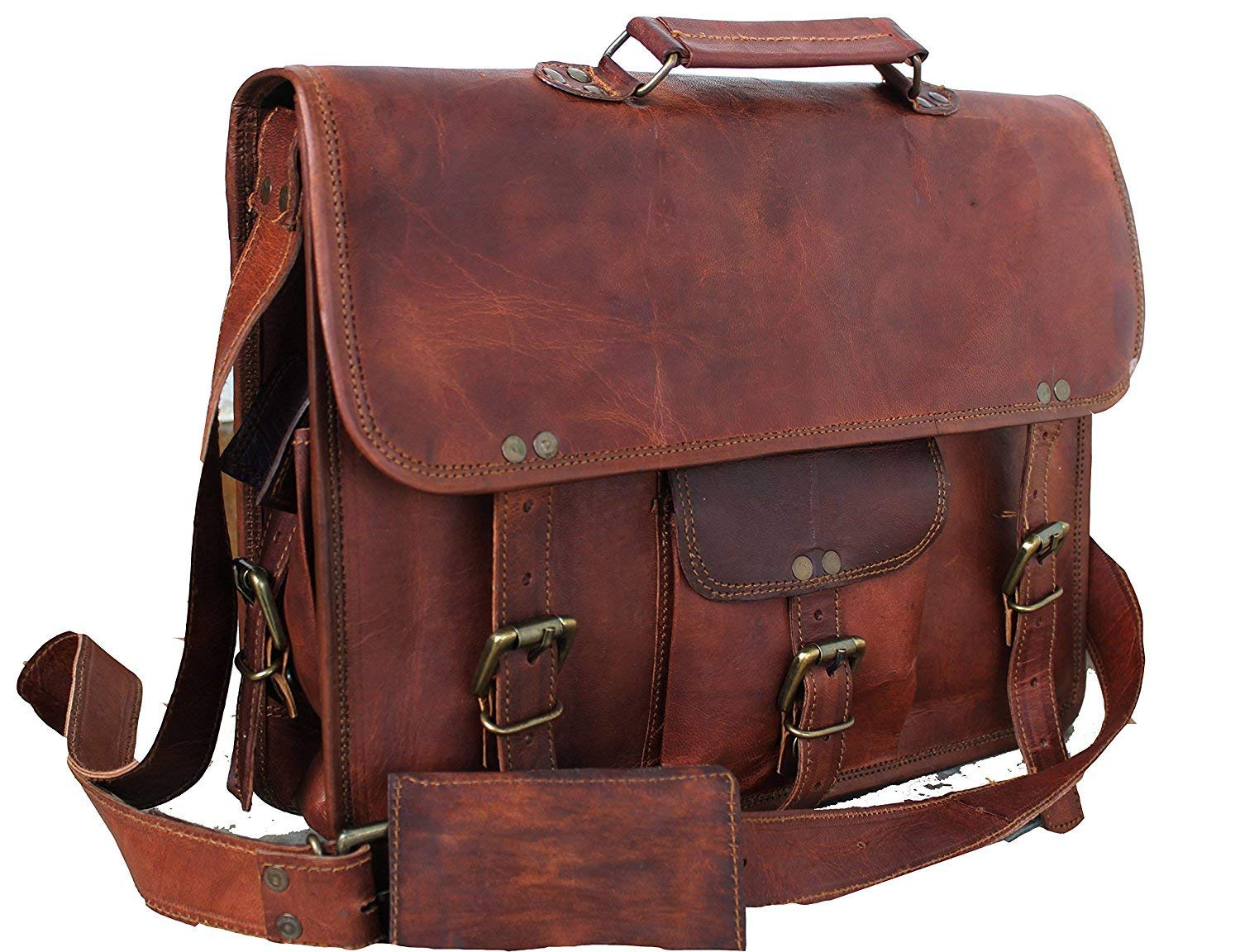 Shariq design Genuine Vintage Brown Leather Messenger Shoulder Laptop Bag for 15-Inch Laptop Leather Messenger Bag for Men and Women