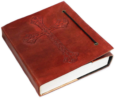 HandMadeCart Vintage Antique Look Genuine Leather Bound Christian Catholic Journal Diary Notebook Travel Book with blank Unlined Pages to write for Men Women