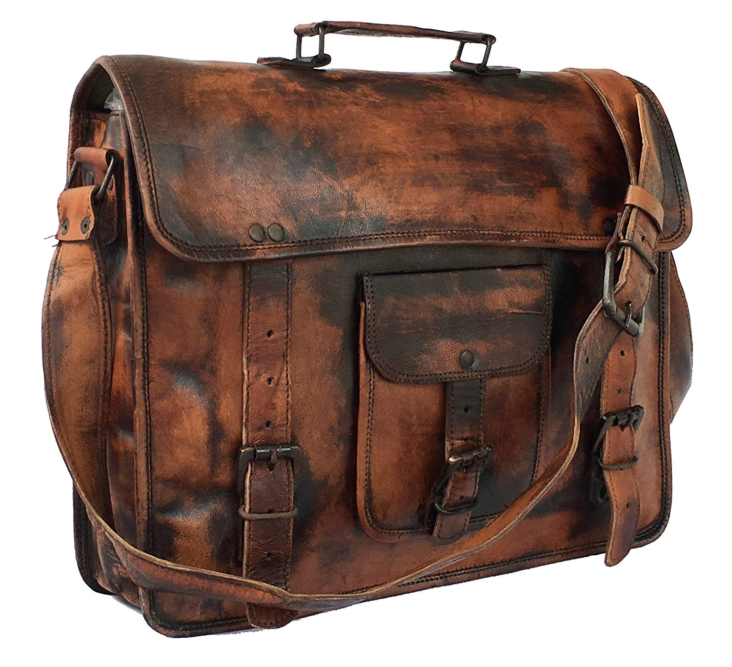 HandMadeCart Leather Vintage 15 Inch Laptop Messenger Bag briefcase Satchel for Men and Women