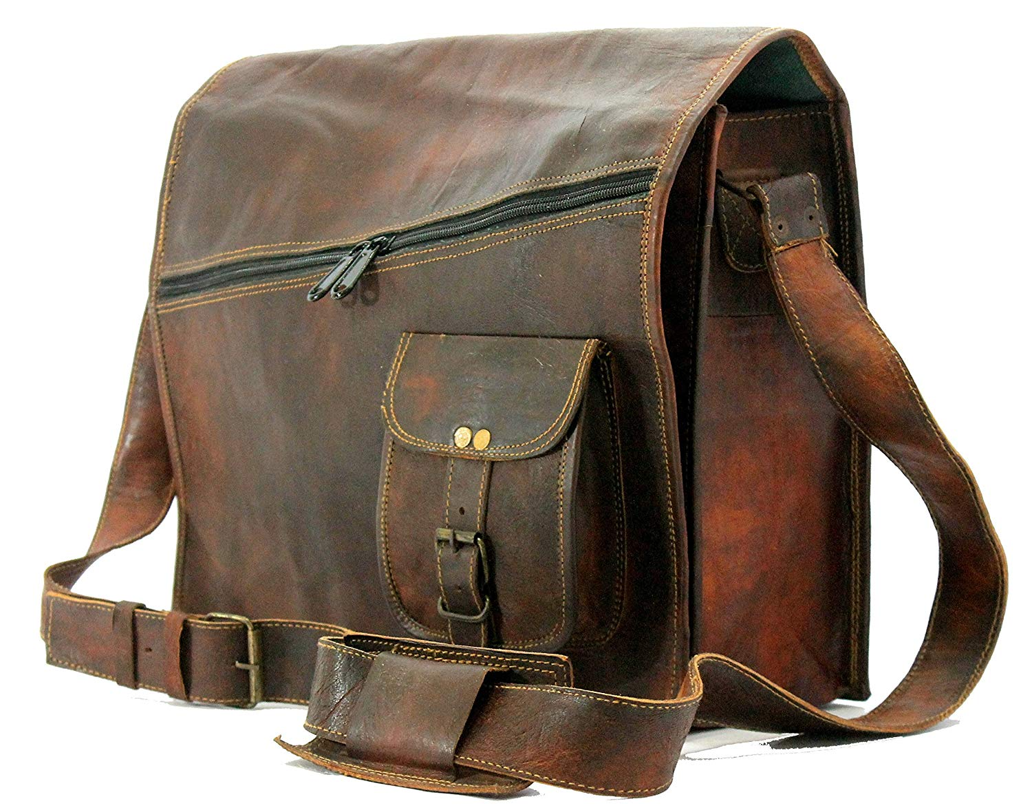 HandMadeCart Vintage Brown 15 Inch Leather Messenger Bag