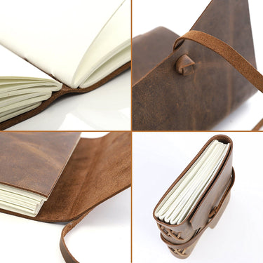 LEATHER JOURNAL Writing Notebook - Antique Handmade Leather Bound Daily Notepad For Men & Women