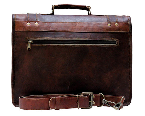 Leather Messenger Bags 15 Inch For Men Women Satchel Briefcase Unisex Cross Body Bag
