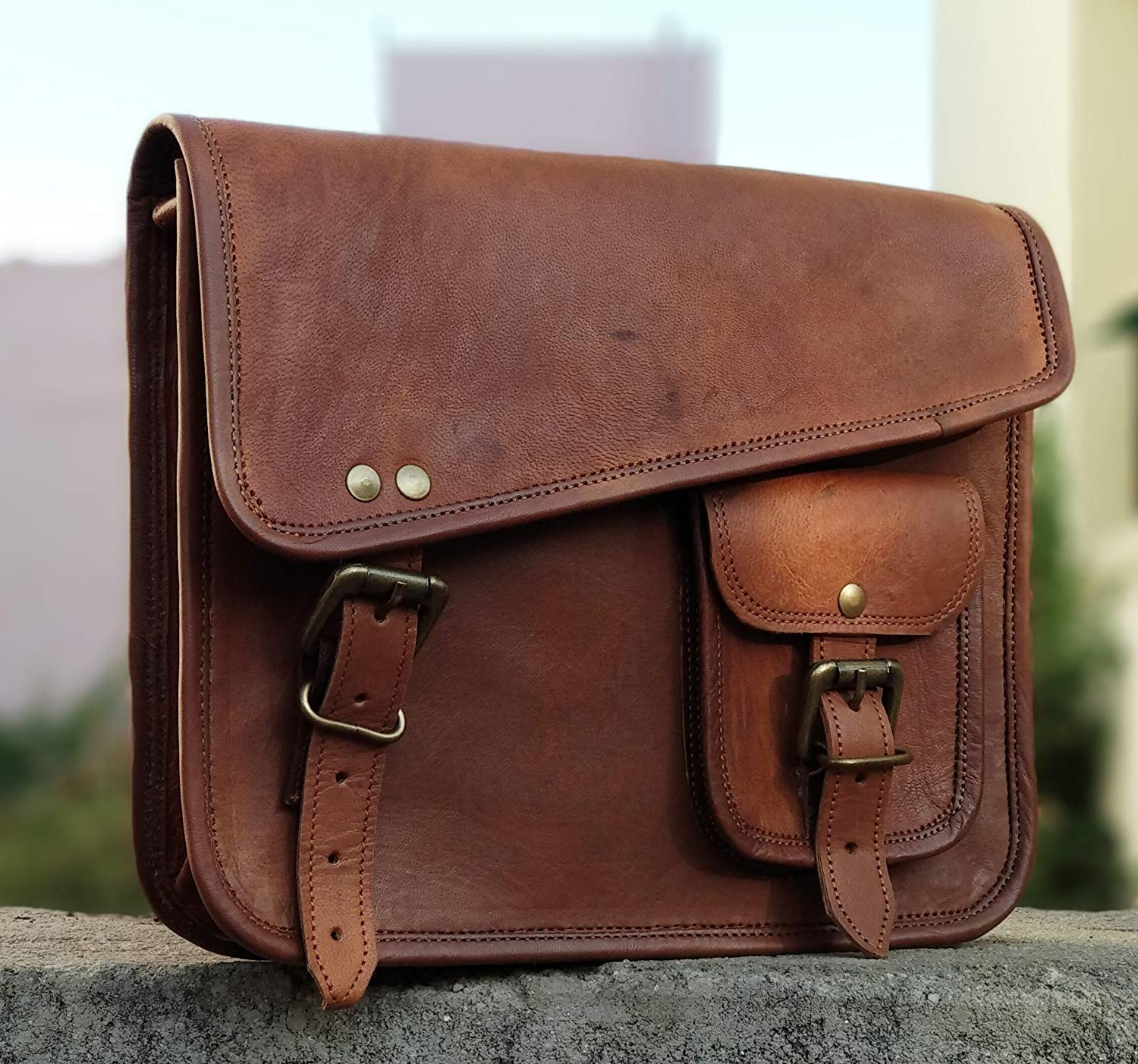 HandMadeCart Stylish Men's Genuine Leather Brown Shoulder Messenger Passport Bag Murse