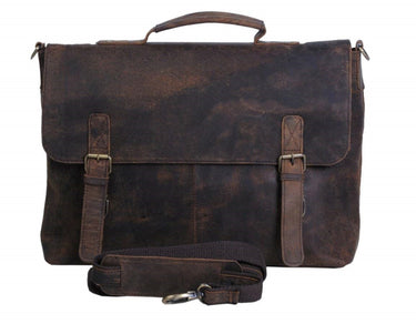 18 Inch Retro Buffalo Hunter Leather Laptop Messenger Bag