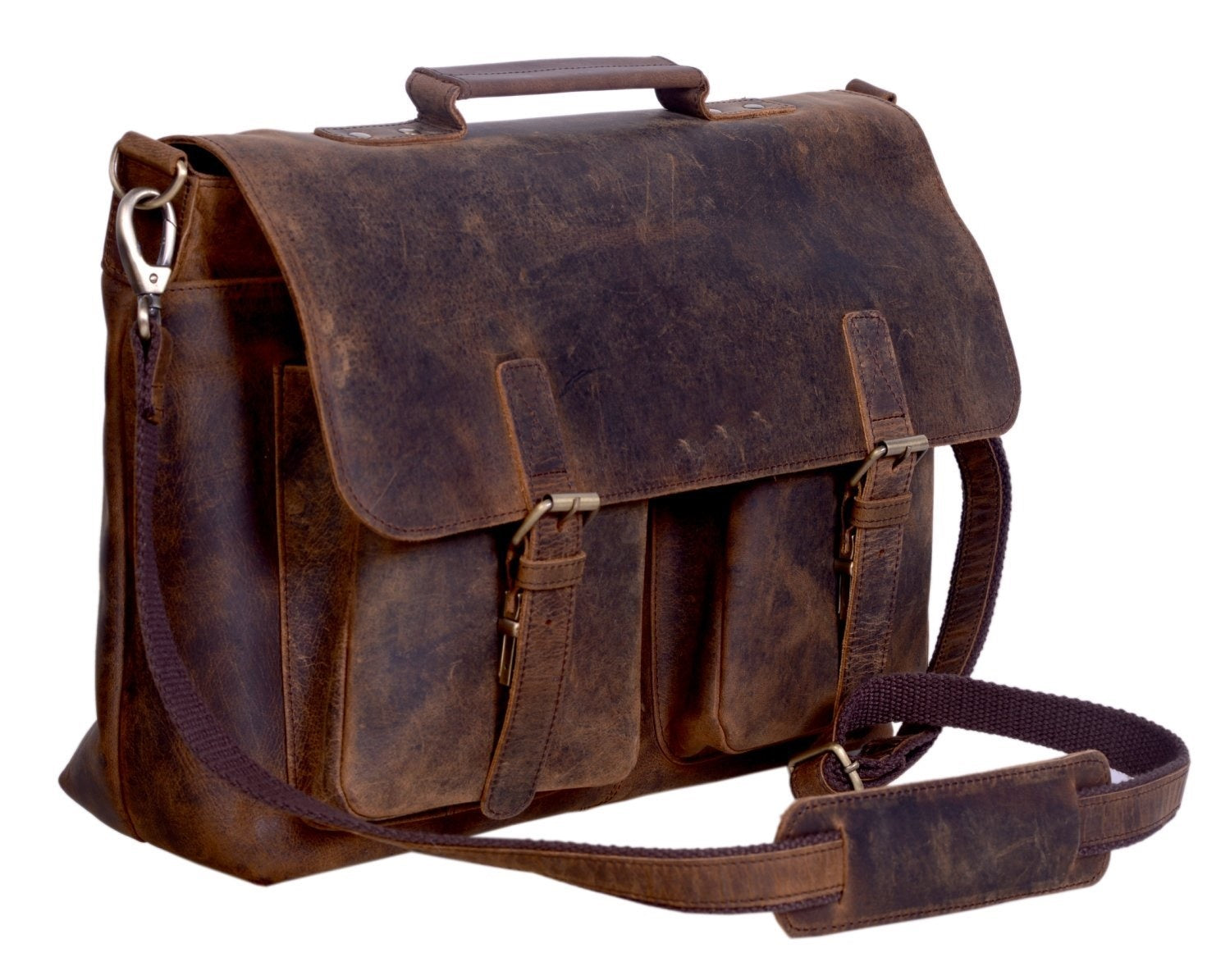 15 Inch Retro Buffalo Hunter Leather two pocket Laptop Messenger Bag