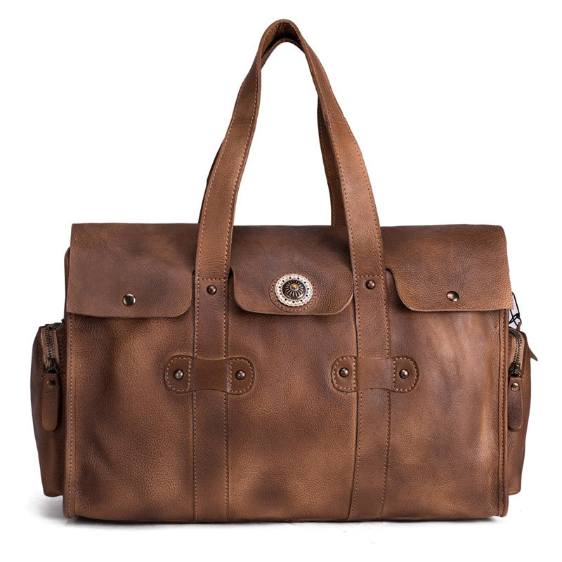 HandMadeCart Super Large Leather Overnight Bag Duffel Bag Laptop Weekend Bag Men's Travel Bag 1098