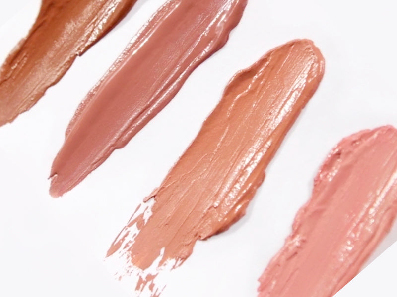 Four samples of our liquid matte lipstick nude collection