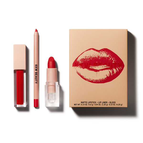 Red 3 pc Lip Set