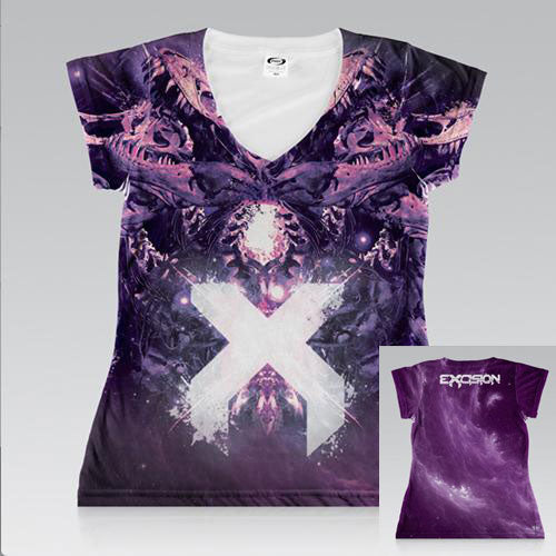 EXCISION -Rex- Girls All Over V-Neck T-Shirt