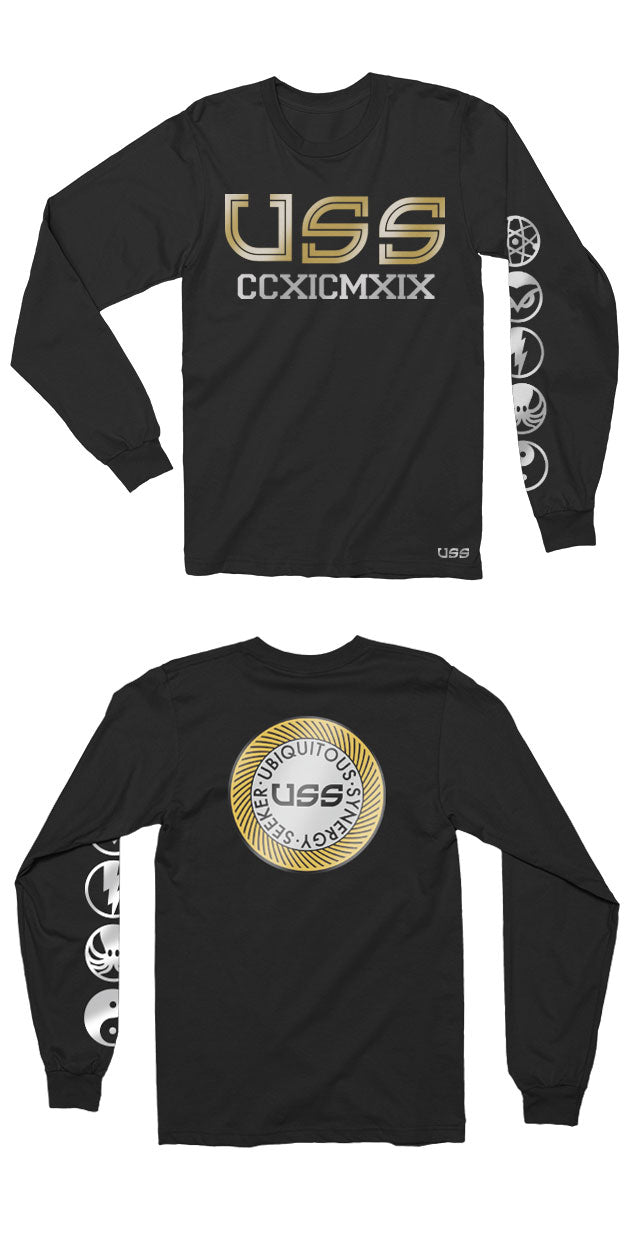 U.S.S. - Roman Numerals - Premium Long Sleeve Black Shirt