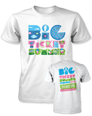 Big Ticket Summer 2015 - Logo - White T-Shirt