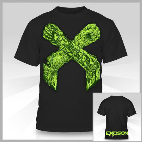 EXCISION -X Arms II- Black T-Shirt