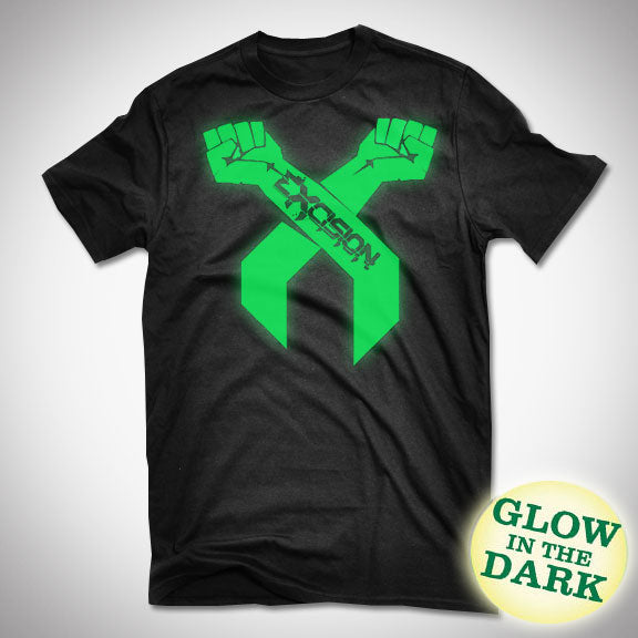 EXCISION GLOW IN THE DARK Green Arms T-Shirt - Black