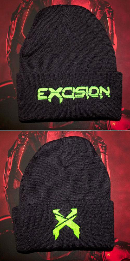 EXCISION -Flip Lid Beanie- Black/Green
