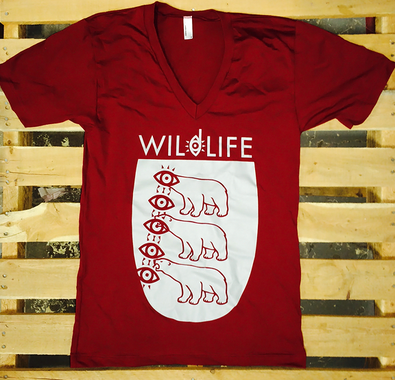 WILDLIFE -Polar Bear- Guys Maroon V-NECK Tee