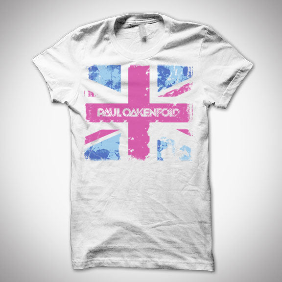 PAUL OAKENFOLD Union Jack Girls/Baby Fit T-Shirt - White