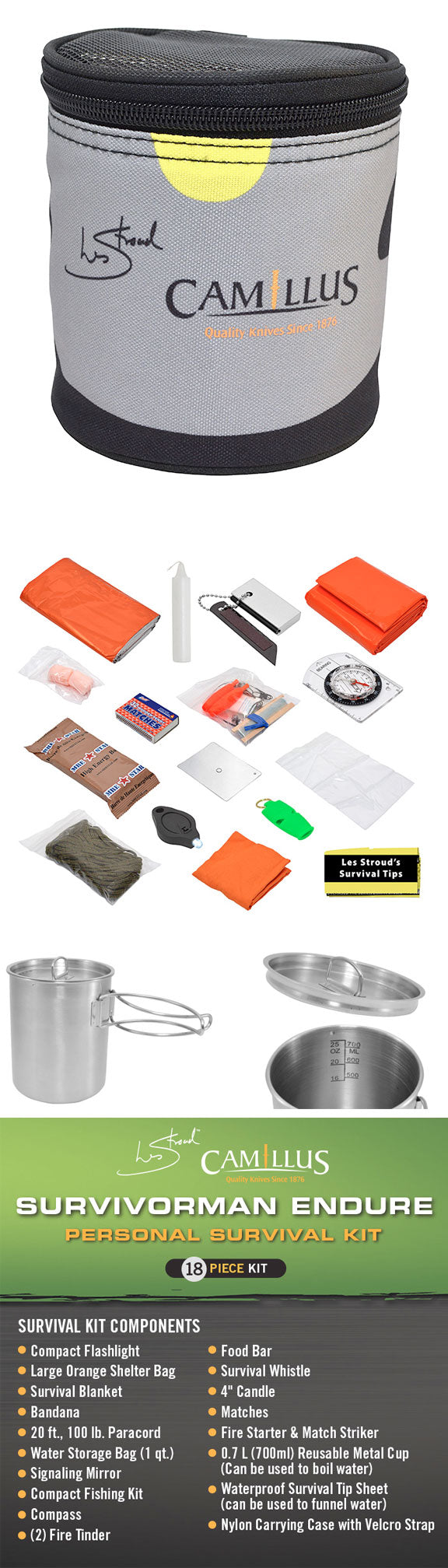 Les Stroud Survival Kits - Camillus Survivorman Endure - Personal Survival Kit