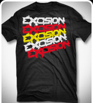 $15!!! EXCISION Chopped T-Shirt - Black w/ Yellow and Red Print