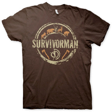 Survivorman - Circle Logo T-Shirt - Brown