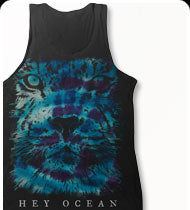 HEY OCEAN -Tie Dye Lion- Tank Top - Black