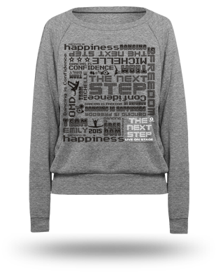The Next Step 2015 Tour Pattern Raglan Pullover: Athletic Grey