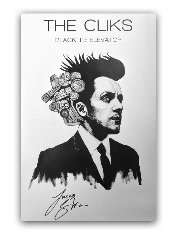 THE CLIKS -Black Tie Elevator- AUTOGRAPHED Poster (White)