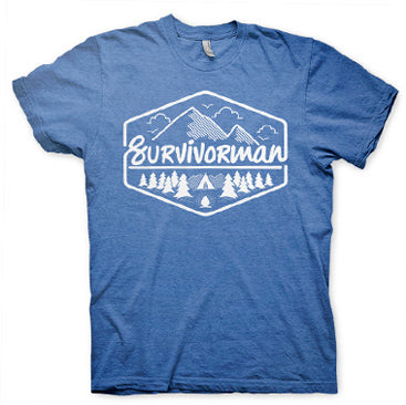 Survivorman - Campground T Shirt - Heather Blue