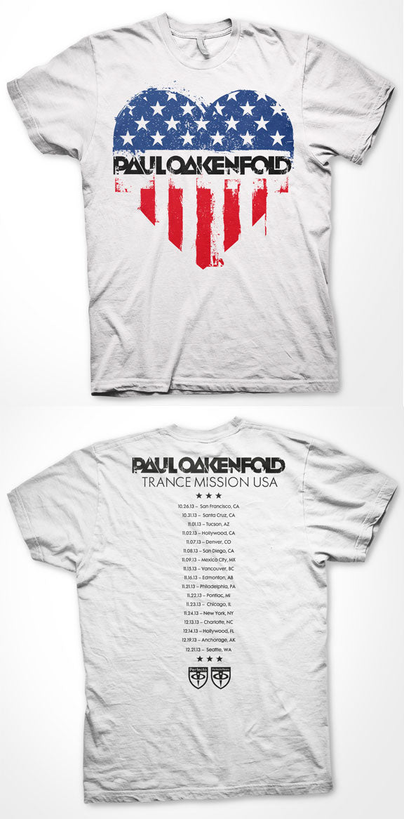 PAUL OAKENFOLD -Trance Mission- Tour T-Shirt - WHITE