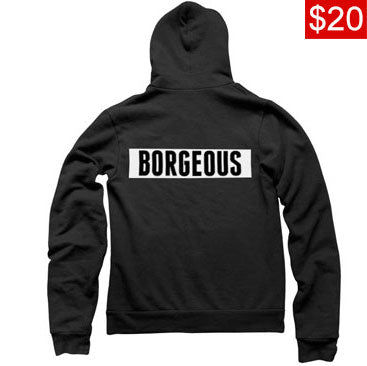 BORGEOUS -Square Back Logo- Black Pullover Hoodie