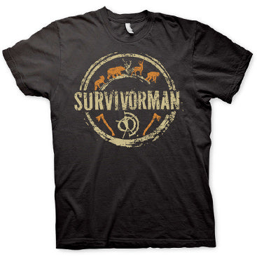 Survivorman - Circle Logo T-Shirt - Black
