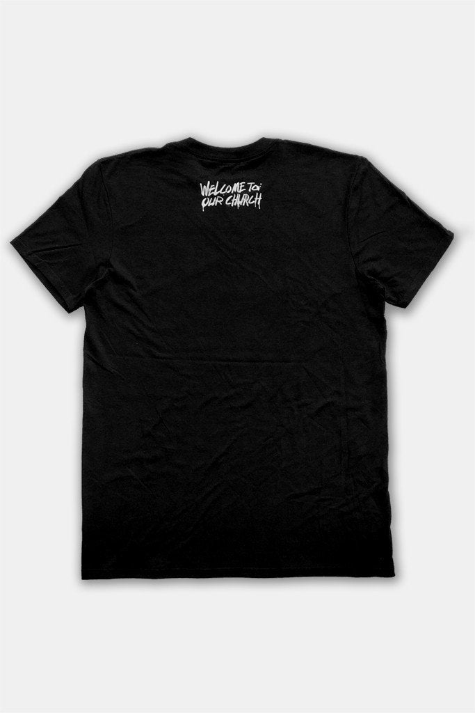 BTSM - Welcome To Our Church Black Tee w/ White Print