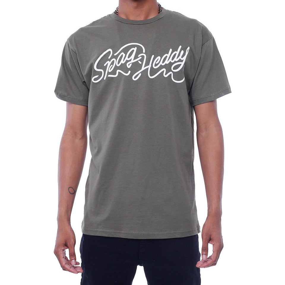 Spag Heddy - Spaghetti Letters - Olive Tee