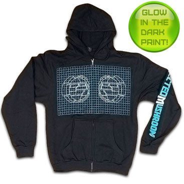 INFECTED MUSHROOM -Grid- Zip Up Hoodie - Black