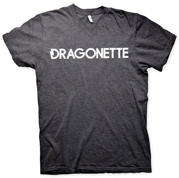 DRAGONETTE -Logo- V Neck T-Shirt - Heather Charcoal