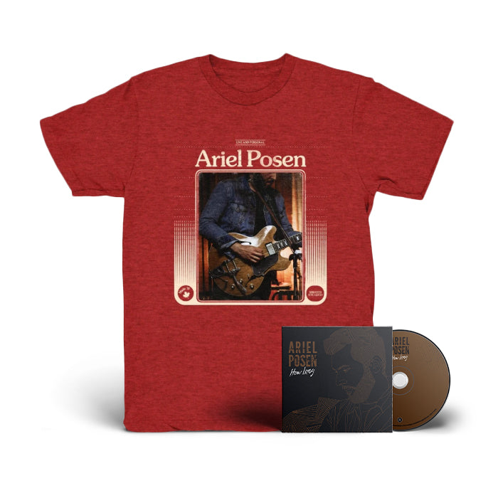 Ariel Posen - How Long - SIGNED CD + Heather Red Tee Bundle