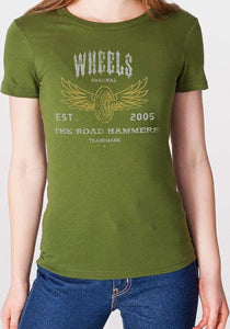 THE ROAD HAMMERS Wheels Girls Green T-Shirt