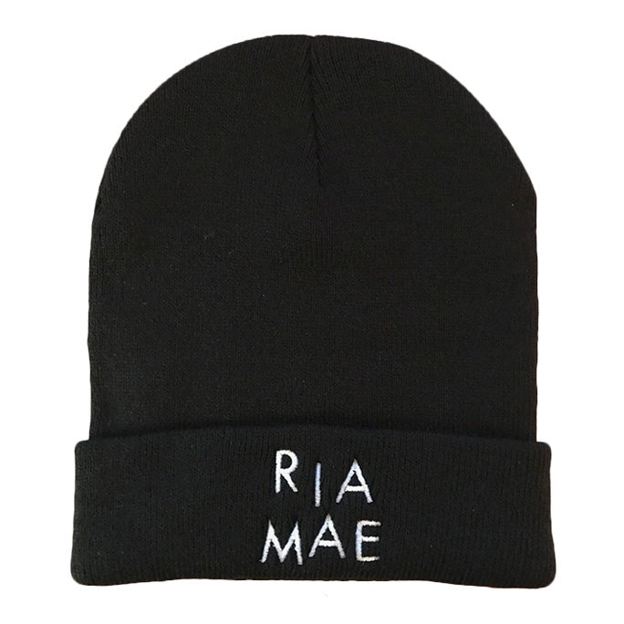 Ria Mae - Beanie - White on Black