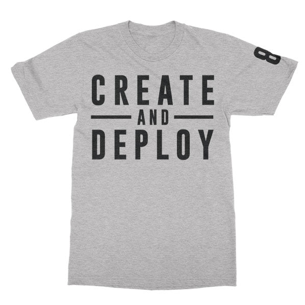 KT8 Apparel -Create And Deploy- Heather Gray Tee