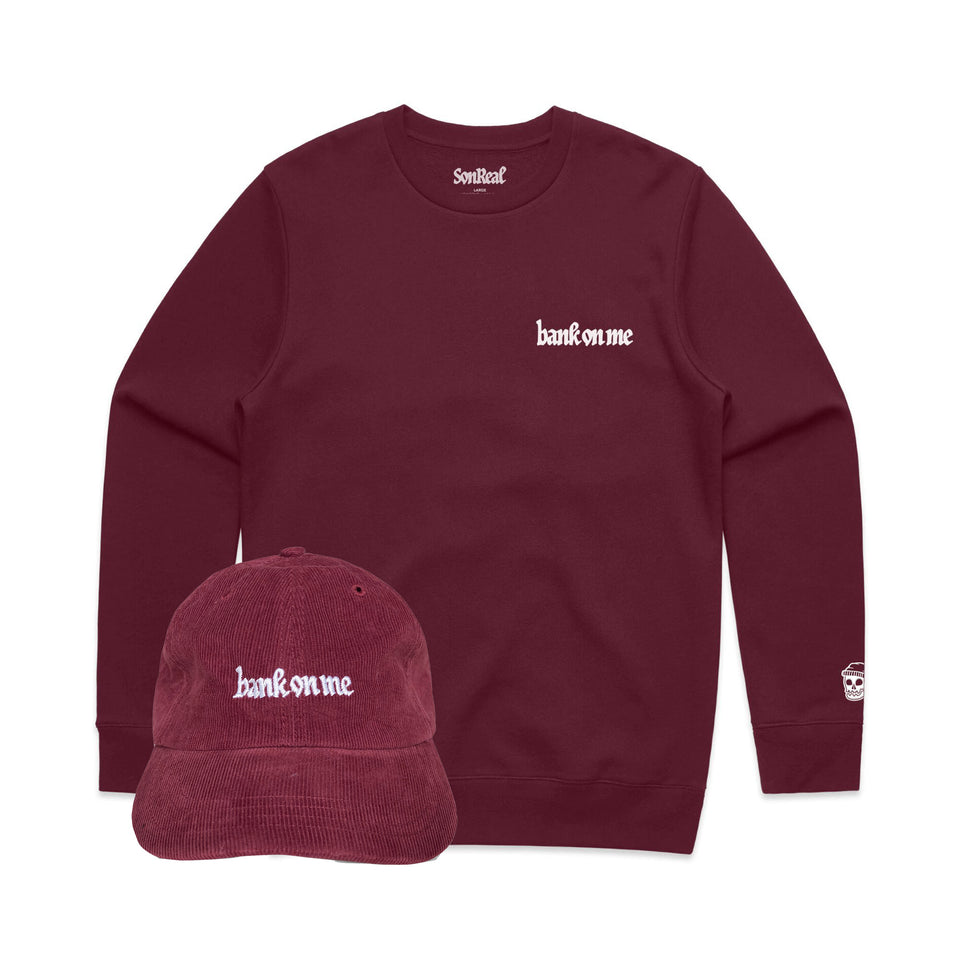 SonReal - Bank On Me - Burgundy Crew + Hat Bundle