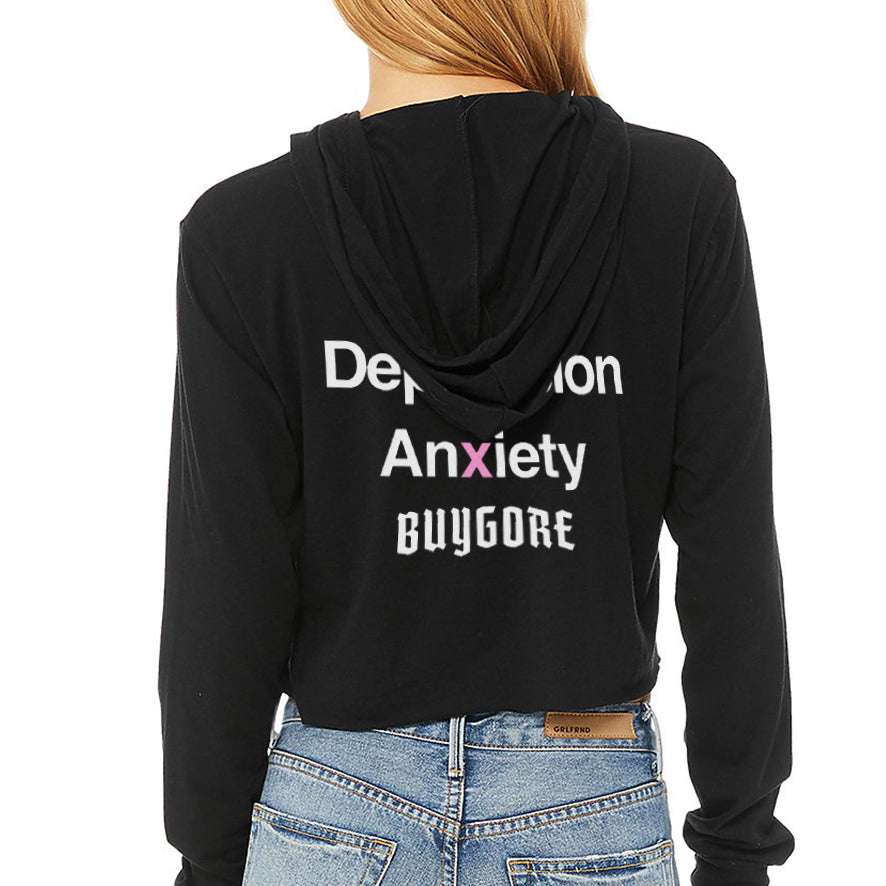 Buygore - SEX - Black Ladies Cropped Triblend Hoodie