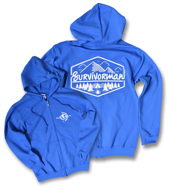 Survivorman - Campground Zip Up Hoodie - Blue