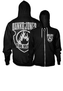 DANKO JONES -Fire Music- Black Zip Up Hoodie