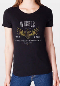 THE ROAD HAMMERS Wheels Girls Black T-Shirt