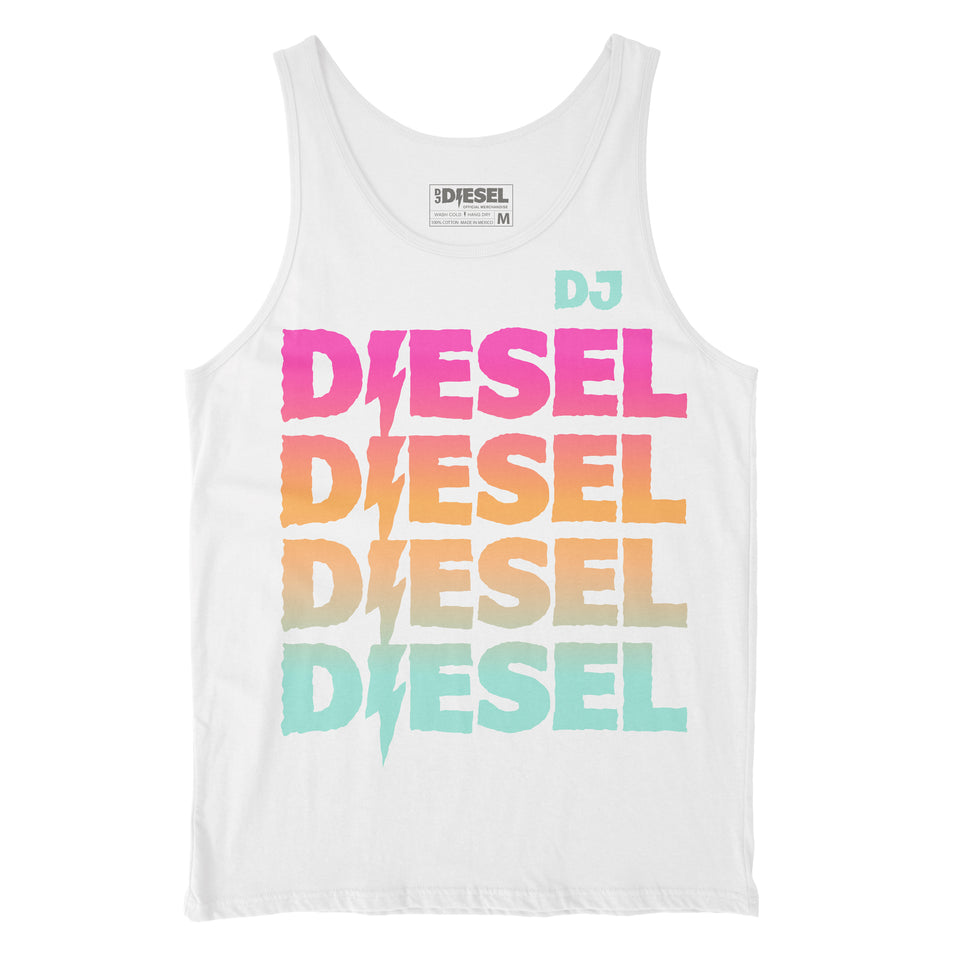 DJ DIESEL - Gradient Logo - White Tank Top