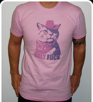HOLY FUCK Guys Cat Shirt - Pink